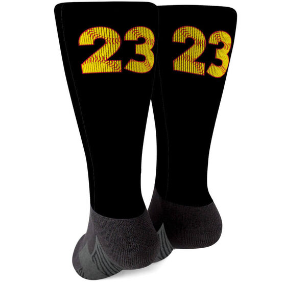 Softball Printed Mid-Calf Socks - Number Stitches