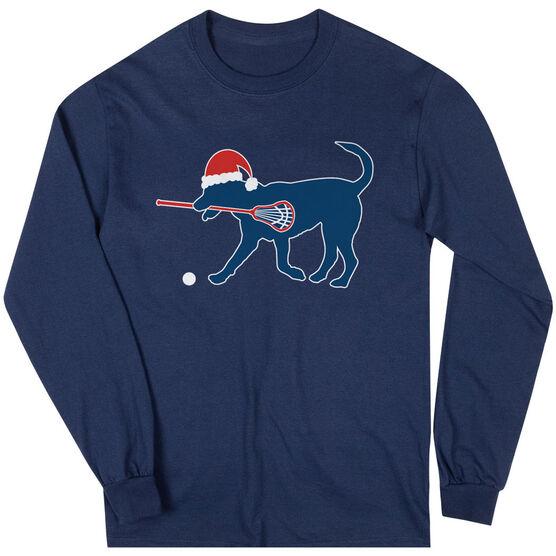 Guys Lacrosse Long Sleeve T-Shirt - Christmas Dog