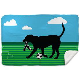 Soccer Sherpa Fleece Blanket - Sammy The Soccer Dog