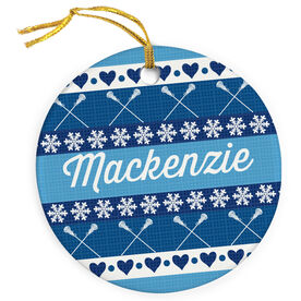 Girls Lacrosse Porcelain Ornament Personalized Christmas Sweater