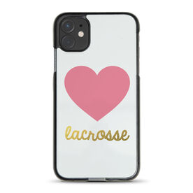 Girls Lacrosse iPhone® Case - Heart with Gold Lacrosse