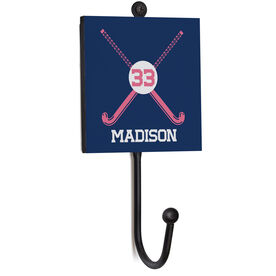 Field Hockey Medal Hook - Crossed Sticks With Name And Number