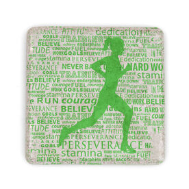 Running Stone Coaster Inspirational Words Female
