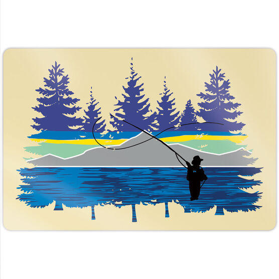 """Fly Fishing 18"""" X 12"""" Aluminum Room Sign - Pond Fishing In The Woods"""
