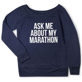 Running Fleece Wide Neck Sweatshirt - Ask Me About My Marathon