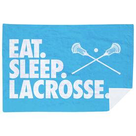 Guys Lacrosse Premium Blanket - Eat. Sleep. Lacrosse. Horizontal