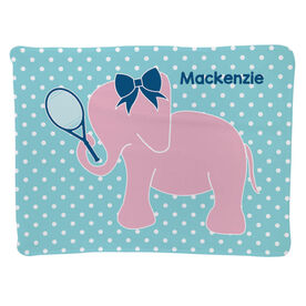 Tennis Baby Blanket - Tennis Elephant with Bow