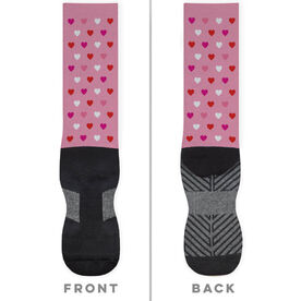 Printed Mid-Calf Socks - Valentine Hearts