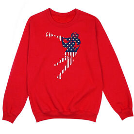 Guys Lacrosse Crew Neck Sweatshirt - American Flag Silhouette