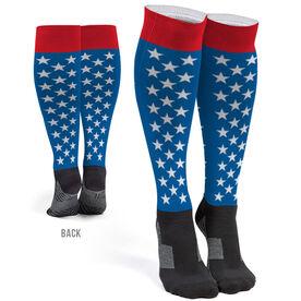 Printed Knee-High Socks - Patriotic Stars