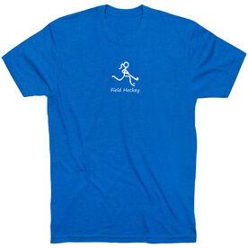 Field Hockey Tshirt Short Sleeve Field Hockey Girl White Stick Figure with Word