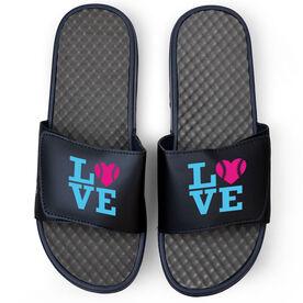 Softball Navy Slide Sandals - LOVE
