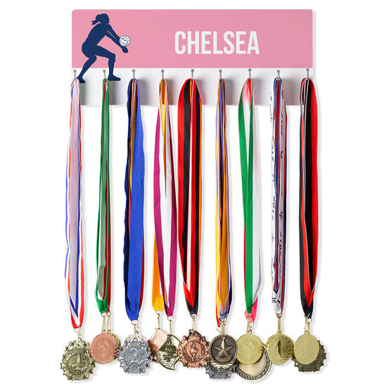 Volleyball Hooked on Medals Hanger - Girl Silhouette