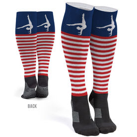 Gymnastics Printed Knee-High Socks - Patriotic Stripes