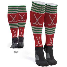 Hockey Printed Knee-High Socks - Christmas Knit