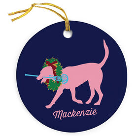 Girls Lacrosse Porcelain Ornament LuLa the Lax Dog with Christmas Wreath