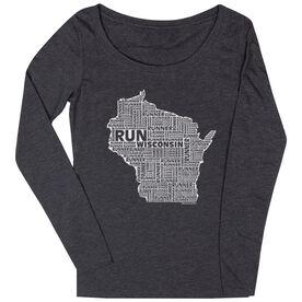 Women's Scoop Neck Long Sleeve Runners Tee Wisconsin State Runner