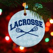 Lacrosse Porcelain Ornament Crossed Sticks