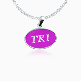 Sterling Silver and Purple Enamel Triathlon Pendant Necklace