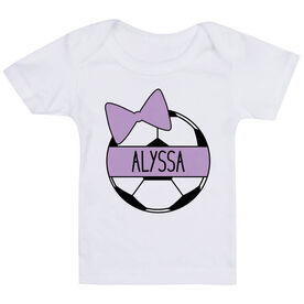 Soccer Baby T-Shirt - Personalized Soccer Ball Bow