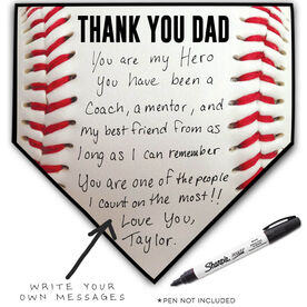 Baseball Home Plate Plaque - Thank You Dad