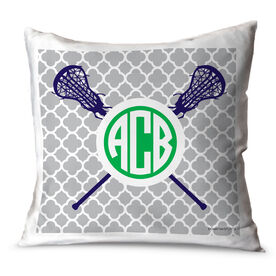 Girls Lacrosse Throw Pillow Personalized Monogram Lacrosse Sticks With Quatrefoil Pattern