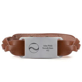 Baseball Leather Bracelet with Engraved Plate - Personalized Baseball