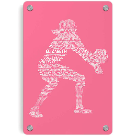 Volleyball Metal Wall Art Panel Personalized Volleyball Player Words