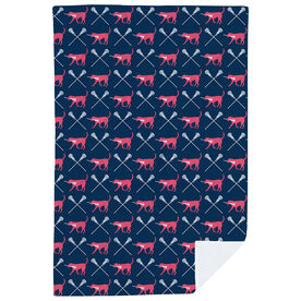 Girls Lacrosse Premium Blanket - LuLa the Lax Dog Pattern
