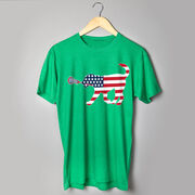 Girls Lacrosse T-Shirt Short Sleeve Patriotic LuLa the Lax Dog