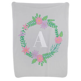Personalized Baby Blanket - Single Initial Floral Wreath