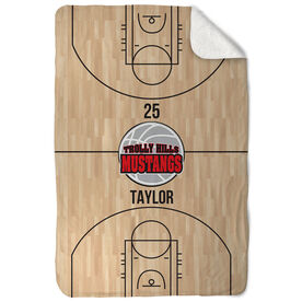 Basketball Sherpa Fleece Blanket - Personalized Court With Logo