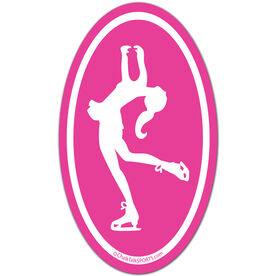 Figure Skating Girl Silhouette Oval Car Magnet (Pink)