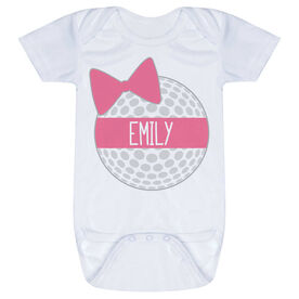 Golf Baby One-Piece - Personalized Golf Ball Bow