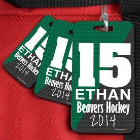 Hockey Bag/Luggage Tag Personalized Big Number Hockey Sticks Pattern