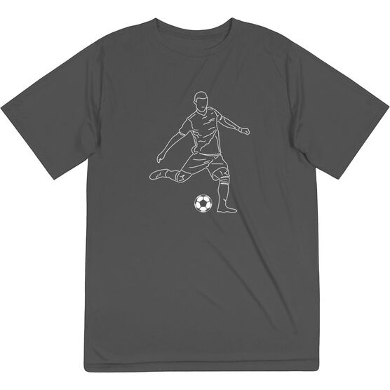 Soccer Short Sleeve Performance Tee - Soccer Guy Player Sketch