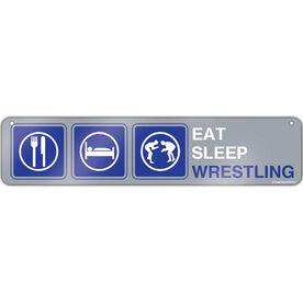 """Wrestling Aluminum Room Sign Eat Sleep Wrestling (4""""x18"""")"""