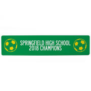 """Soccer Aluminum Room Sign - Team Your Text With Balls (4""""x18"""")"""