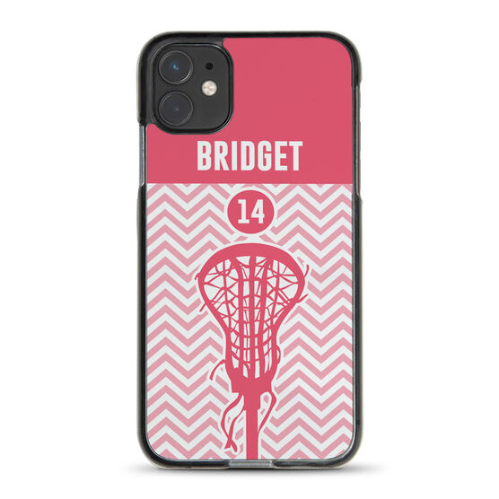 Girls Lacrosse iPhone® Case - Chevron Name and Number