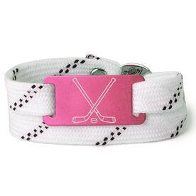 Adjustable Hockey Lace Bracelet With Slider - Crossed Sticks