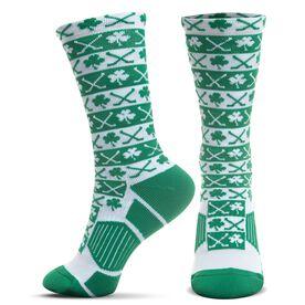 Hockey Woven Mid-Calf Socks - Shamrock Crossed Sticks Pattern