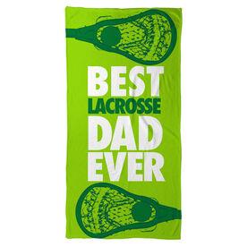 Guys Lacrosse Beach Towel Best Dad Ever