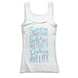 Triathlon Vintage Fitted Tank Top - Tri Quote