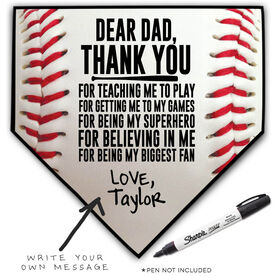 Baseball Home Plate Plaque - Dear Dad