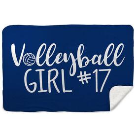 Volleyball Sherpa Fleece Blanket - Volleyball Girl