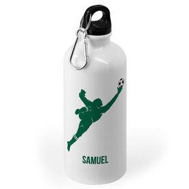 Soccer 20 oz. Stainless Steel Water Bottle - Soccer Male Goalie Silhouette