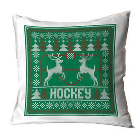 Hockey Throw Pillow - Hockey Christmas Knit
