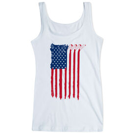 Hockey Women's Athletic Tank Top - American Flag (Destressed)