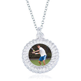 Tennis Braided Circle Necklace - Custom Photo