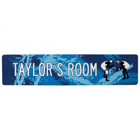 "Wrestling Aluminum Room Sign - Personalized Wrestling Room (4""x18"")"